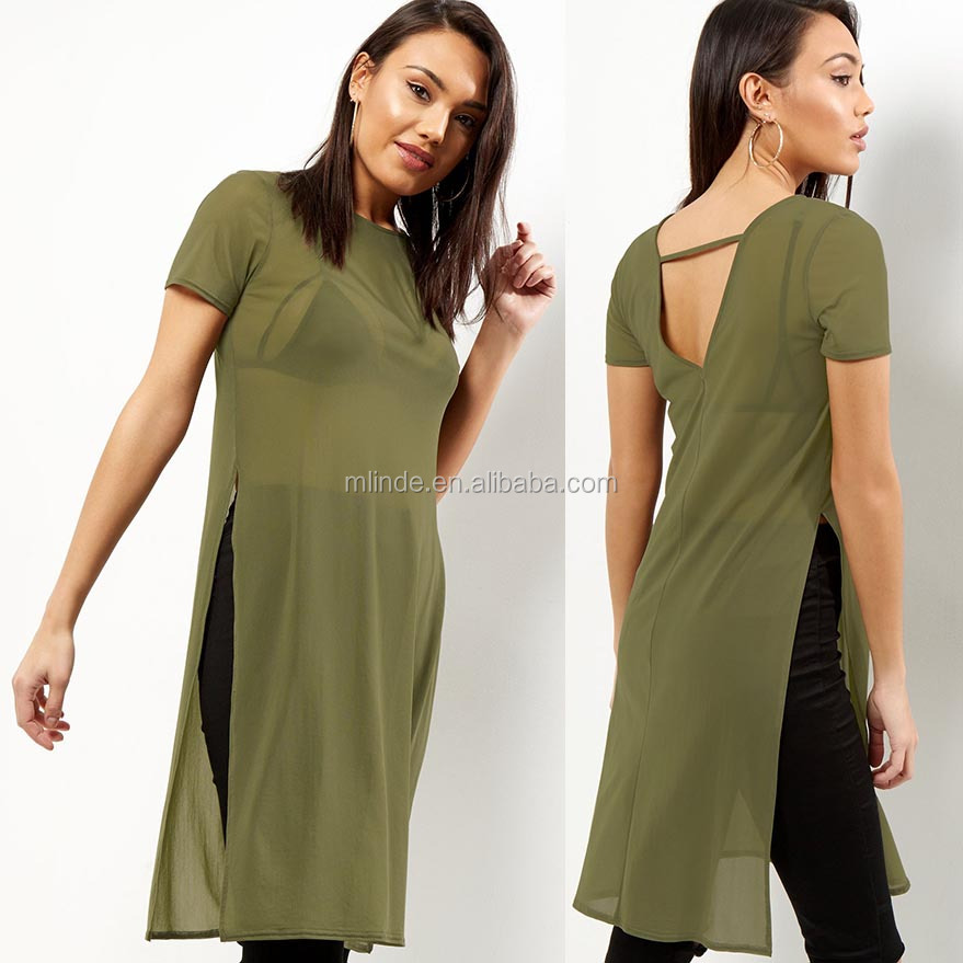 xxxl Long T Shirt Ladies Simple Short Sleeves Rounded Neckline Khaki Mesh Side Split Sexy Longline T Shirt Price Wholesale