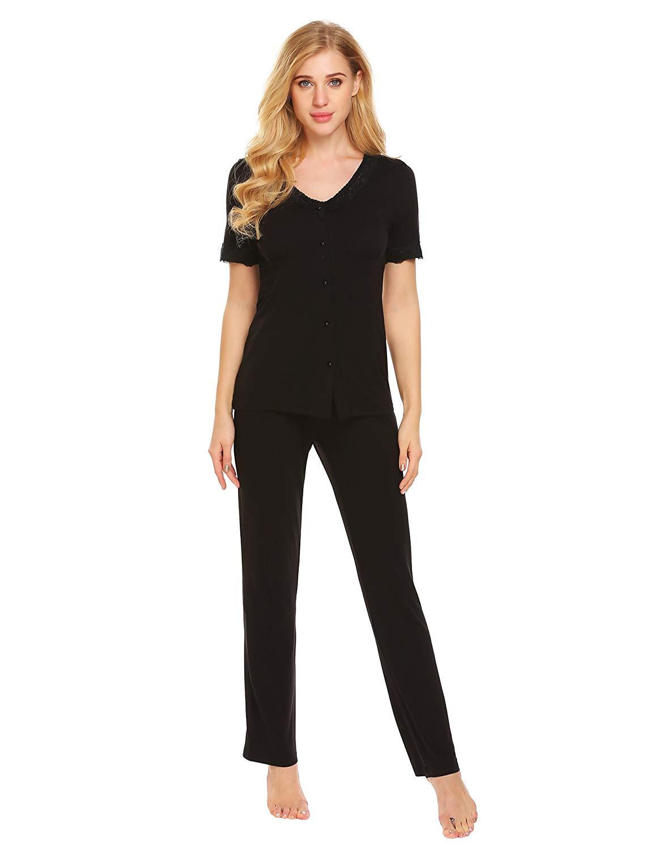 35e21b88d ... Womens Lace-Trimmed Long Sleeve Pajama Set XS-XL null. Ekouaer  Sleepwear Sets Ladies Loungewear Lace-Trimmed V Neck Lingerie Pajama Set  XS-XL
