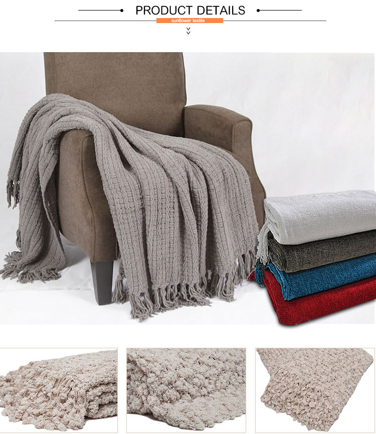 Beautiful new design Thick chunky cable knit throw blanket 100% acrylic knitted sofa throw blanket