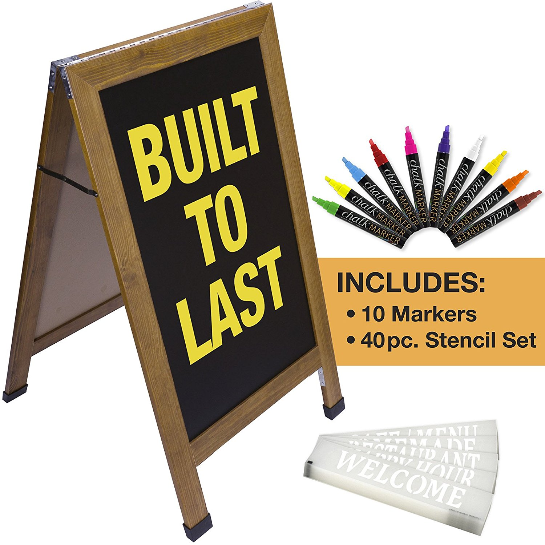 Sandwich Board Sidewalk Chalkboard Sign: REINFORCED, HEAVY-DUTY / 10 CHALK MARKERS / 40 PC STENCIL SET / CHALK / ERASER / DOUBLE SIDED / LARGE 40x23 Chalk Board Standing Sign A-Frame (Cedar/Natural)
