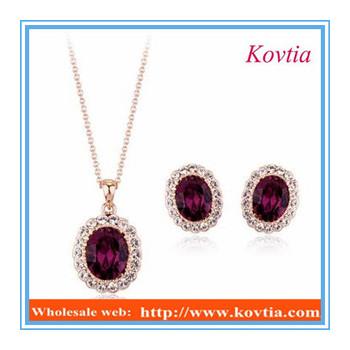 Dubai New Design Ruby Diamond Pendant Necklace And Earring Set Jewelry