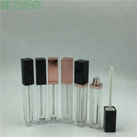 Plastic square shape transparent bottle lip gloss container packaging