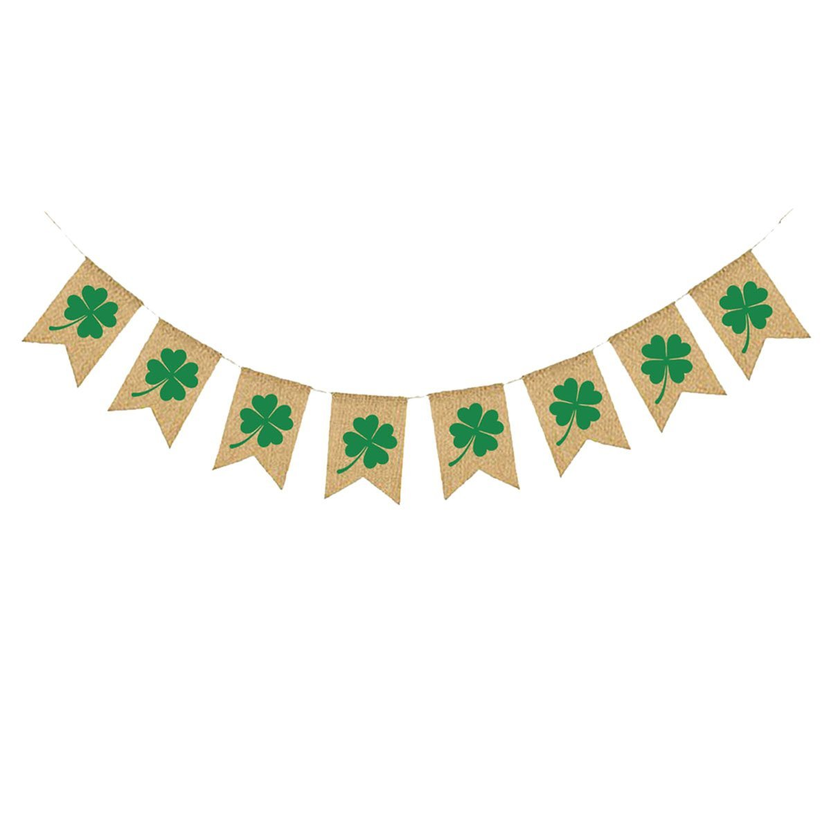 b775aadf63ff6 Get Quotations · OULII St Patrick's Day Banner Irish Shamrock Burlap Lucky  Green Clover Bunting Garland For St.