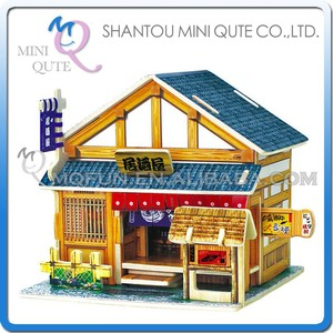 Mini Qute 3D Wooden Puzzle Japanese Tavern architecture famous building Adult kids model educational toy gift NO.F121