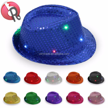 Adult Sequin Fedora Hat Kid Dance Cap Solid Jazz Hat Party Glitter Costume  led glitter hat 1f0cdf7bd73