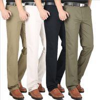Men's casual pants khaki straight business Large size pants stock beige dad clothing high waist cotton trousers wholesale cheap