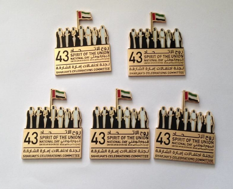 Custom dubai lapel enamel pin badges used for national day