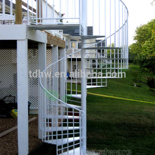 exterior metal Spiral Stairs in white