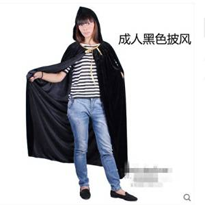 Halloween Adult Children's Cloak Witch Hooded Cosplay Costume Party Show Decorations Masquerade Carnival(adult Black Cloak)