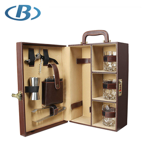 Professional Stainless Steel Cocktail Set With Leather Case
