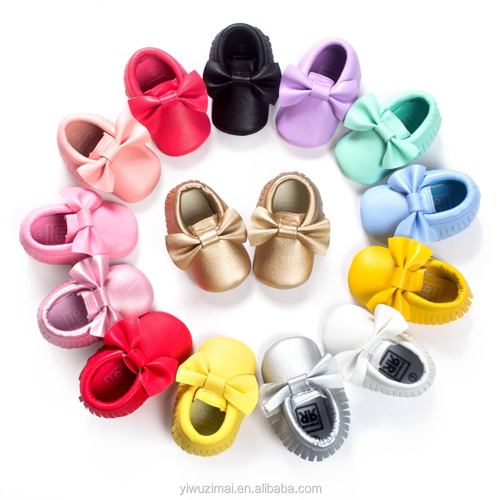 2017 New design solid colors handmade pu leather baby shoes kids toddler soft sole moccasins