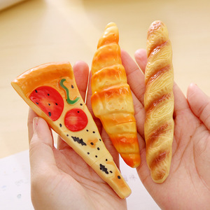 2018 shenzhen stationery export Realistic pizza bread design bulk ballpoint pens office school Promotions plastic ball pen