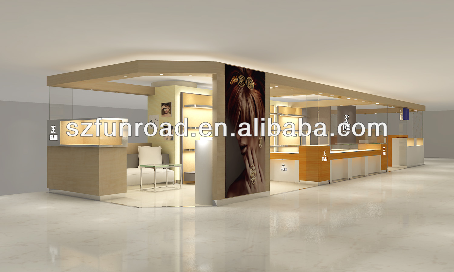 High end boutique and high end jewelry furniture store with cabinets in flagship