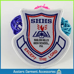 die-cut shape high quality school woven badge woven patch for kids personal woven badge for cloth