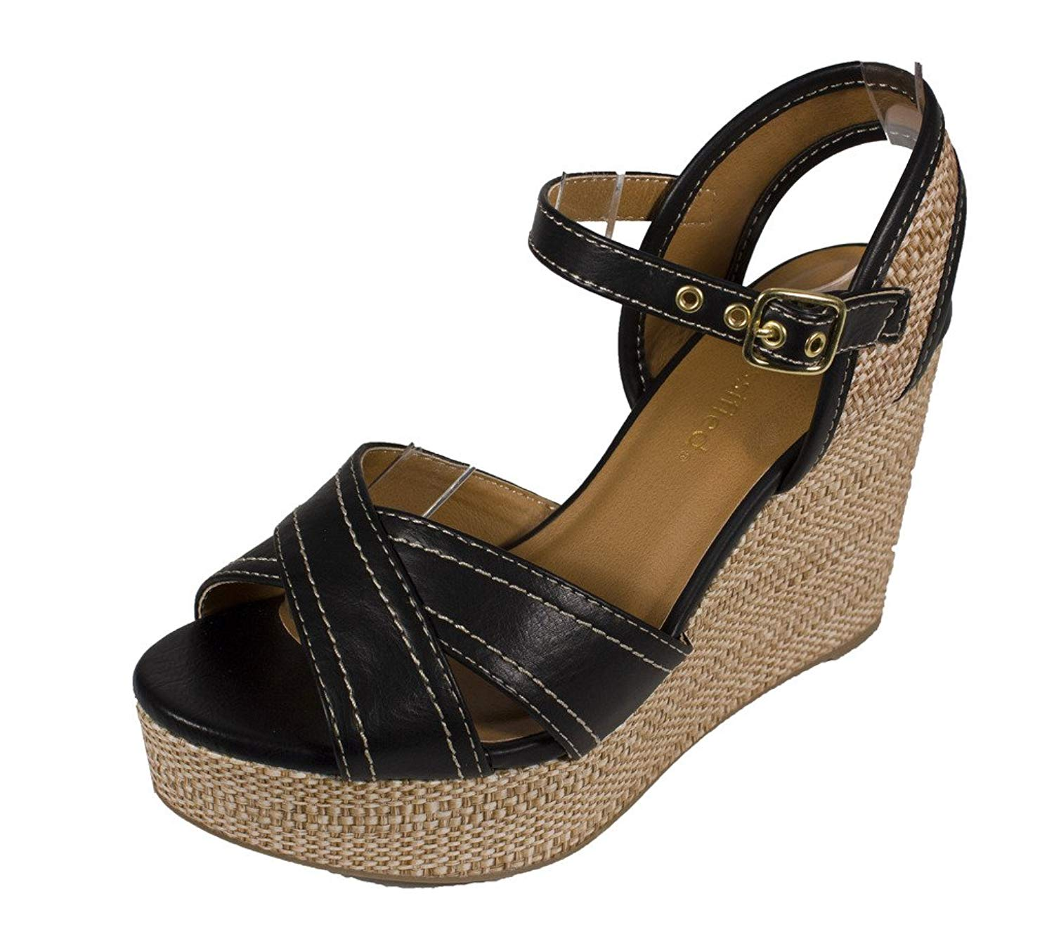 1607647783c62 City Classified Women s Kimball Ankle Strap Platform Raffia Wedge Sandal in  Black Leatherette