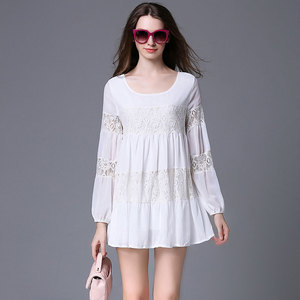New easing code stitching women's dress lace chiffon dress