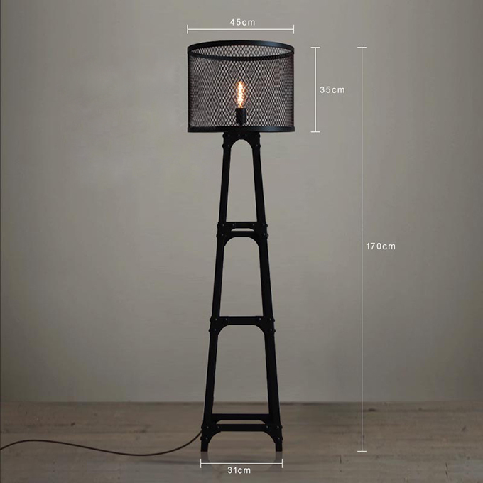 Modern Hotel Light Fixture Vintage Rustic Nordic Contryside Style Mesh  Shade Tripod Iron Floor Lamp For