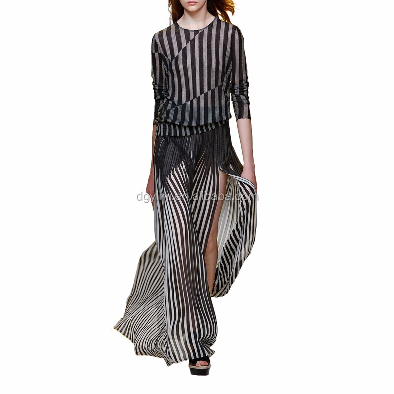 Striped Plisse Silk Maxi Skirt
