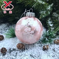 Pink hanging christmas glass ball glass christmas decoration