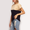 Women's Summer Tee Tops Women 2016 Casual Patchwork Crew Neck Roll-up Short Sleeve T-Shirt for Female
