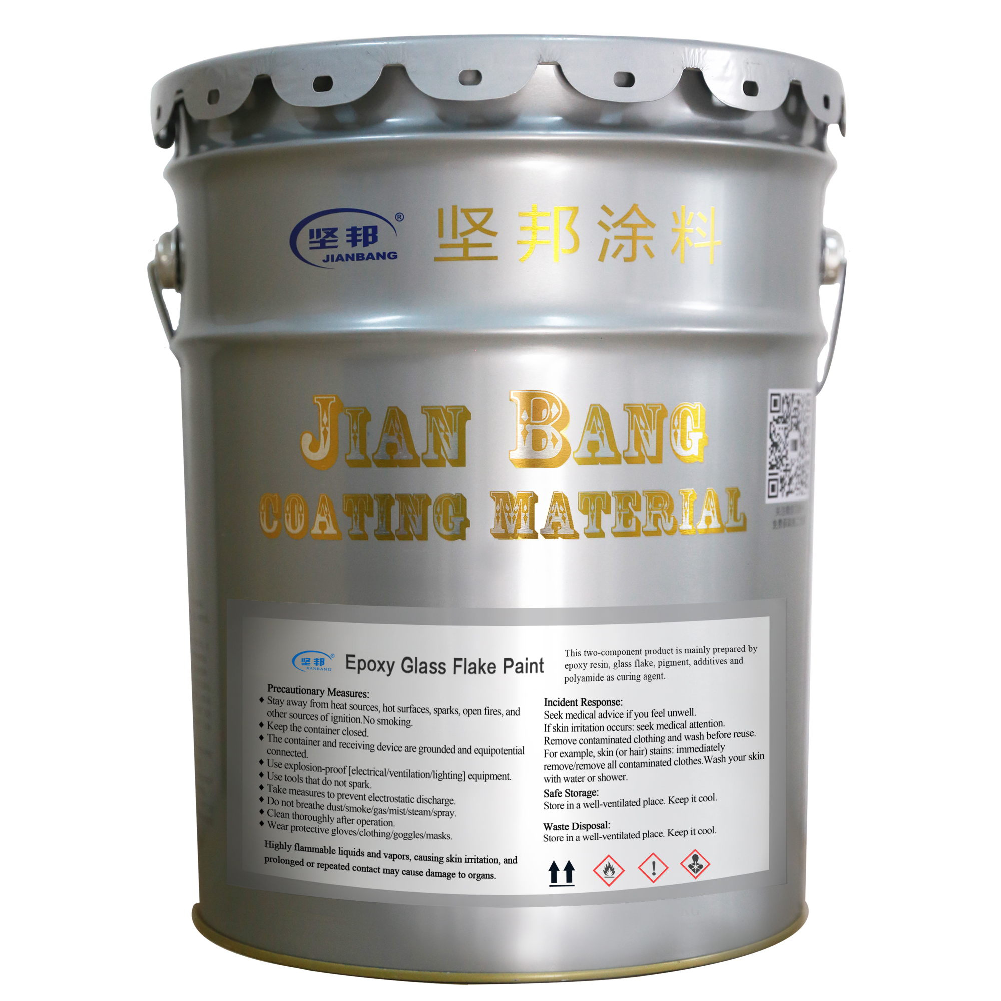 Jianbang 2 k schwere anti-corrsoion epoxy glas flake finish farbe