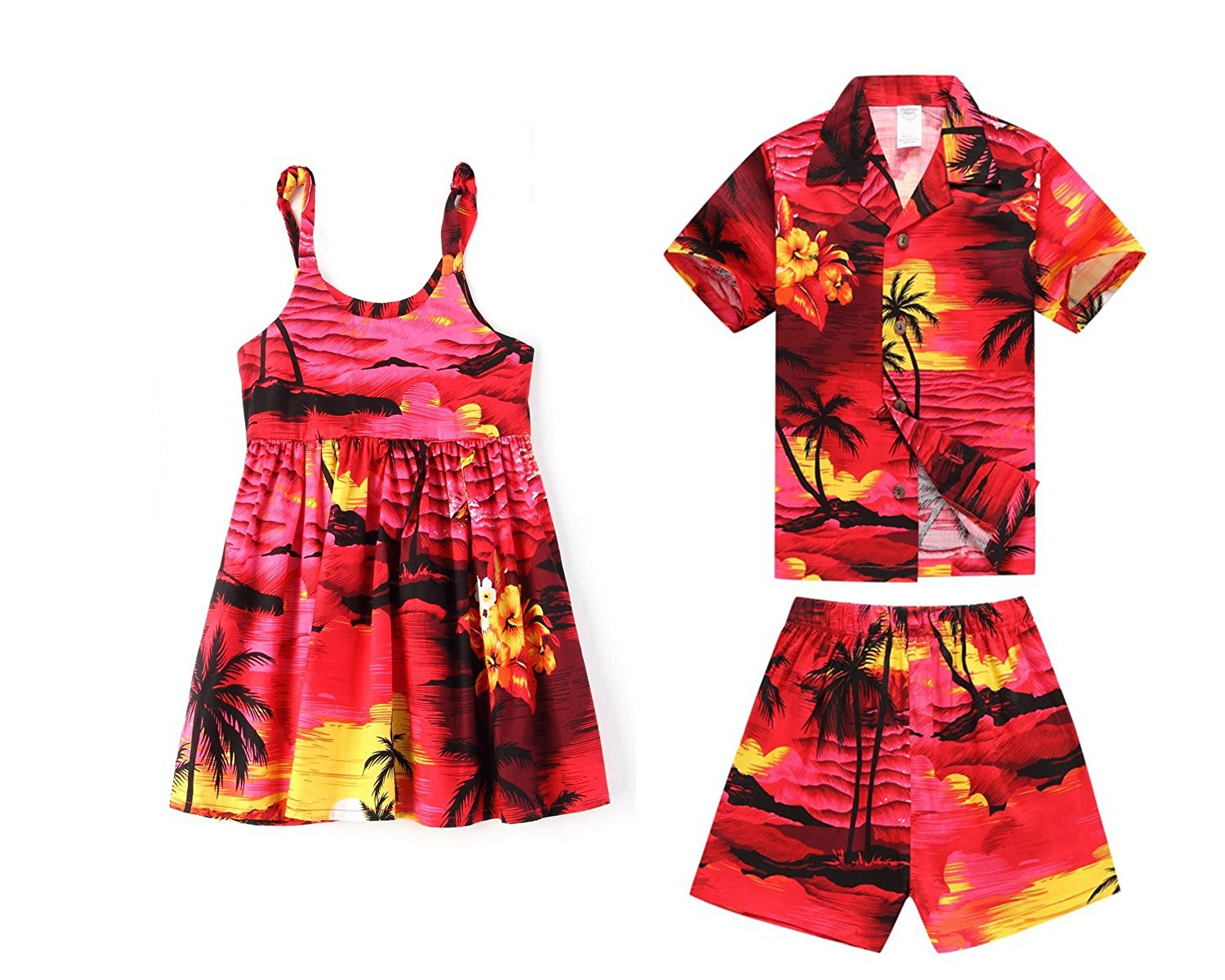 1c6bd85d31 Get Quotations · Hawaii Hangover Matching Boy and Girl Siblings Hawaiian  Luau Outfits In Sunset Red and Blue