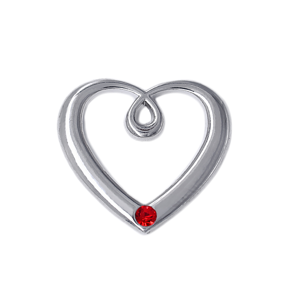 HUSURU Jewelry Zinc Alloy Metal Rhodium Plated Open Heart Birthstone Charm