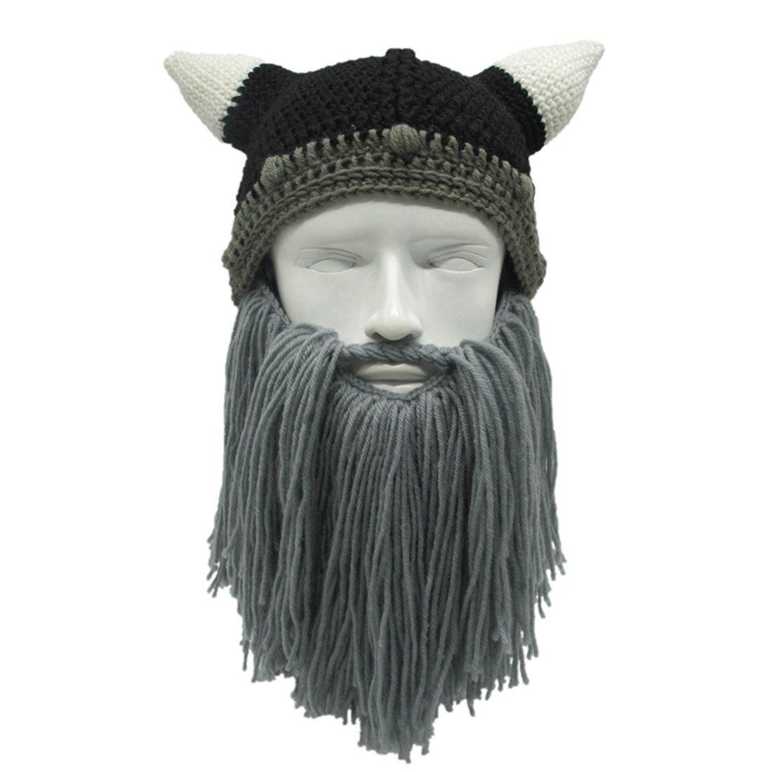 31df595b18b Get Quotations · ZGZY For Kids Beard Hat Pirate Original Barbarian Warrior Knit  Beard Hat Halloween Viking Horns Bearded