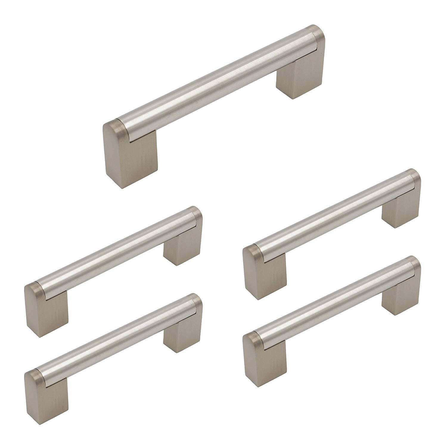 homdiy Cabinet Handles Brushed Nickel 5 Pack 3-3/4 in Hole Center HDJ14BSS European Style Boss Bar Cabinet Hardware Brushed Nickel Drawer Pulls Stainless Steel Kitchen Door Handles