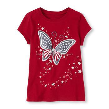 4e2aa08ac721c5 Glitter Butterfly Printed Girls T Shirt - Buy Top Fashion Girl T Shirt,Kids  ...