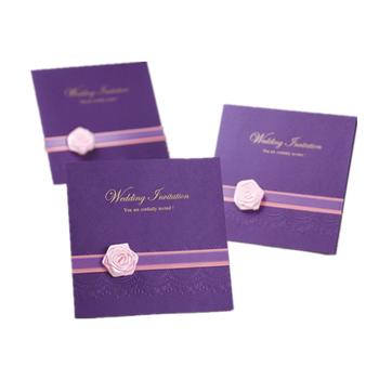 Pink Silk Gold Foil Stamping Dark Purple Luxury Wedding Invitation