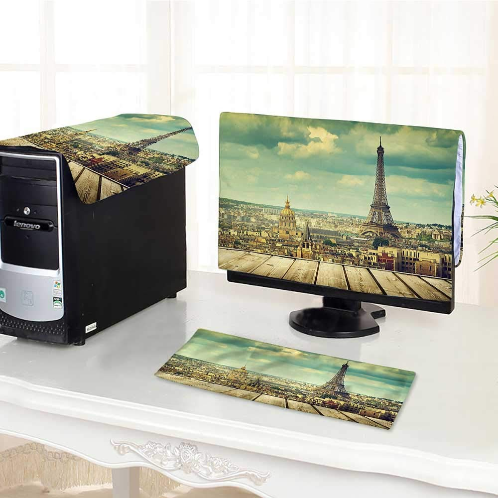 """Jiahonghome Computer Cover 3 Pieces with View from A Wooden Deck Table Urban Life Classic Home Teal Antistatic, Water Resistant /23"""""""