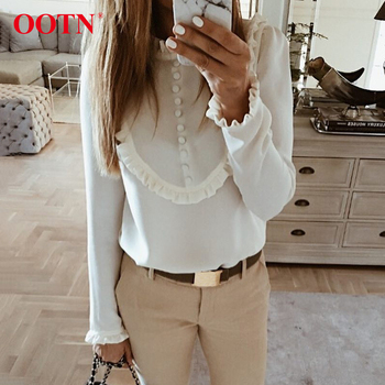 OOTN Stand Collar Fashion Work Spring Womens Blouses White Top Single-Breasted Ladies Shirts Elegant Office Women Ruffle Blouse