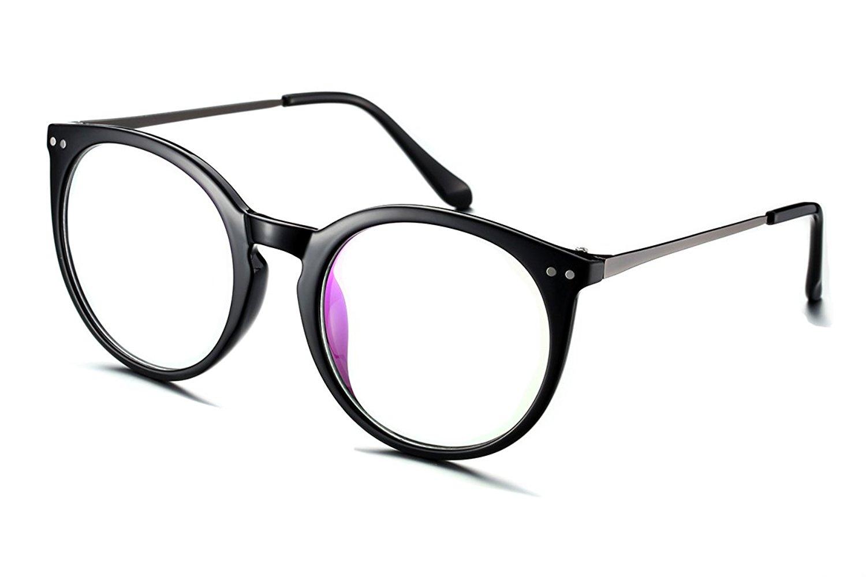 164d43faf27 PenSee Oval Circle Oversized Glasses Frames Metal Clear Lens Eyeglasses