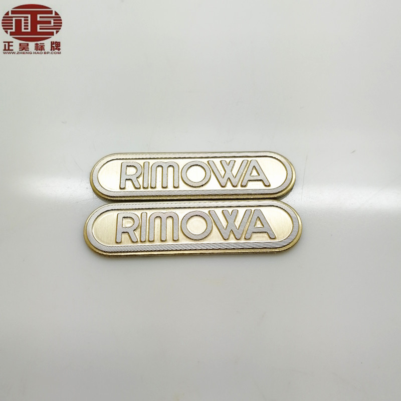 Shiny Logo embossed aluminum metal label, gold anodized aluminum sticker