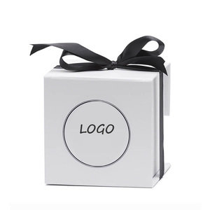 Hot sale white rigid paper printed candle package box with logo