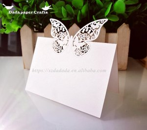 XWK1 Laser Cut Butterfly Vine Wedding Table Number card for wedding, Love shape seat card fot parties, Beautiful seat card