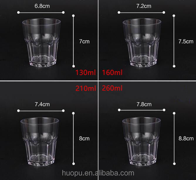 wholesale high grade PC materials transparent octagonal beer cups