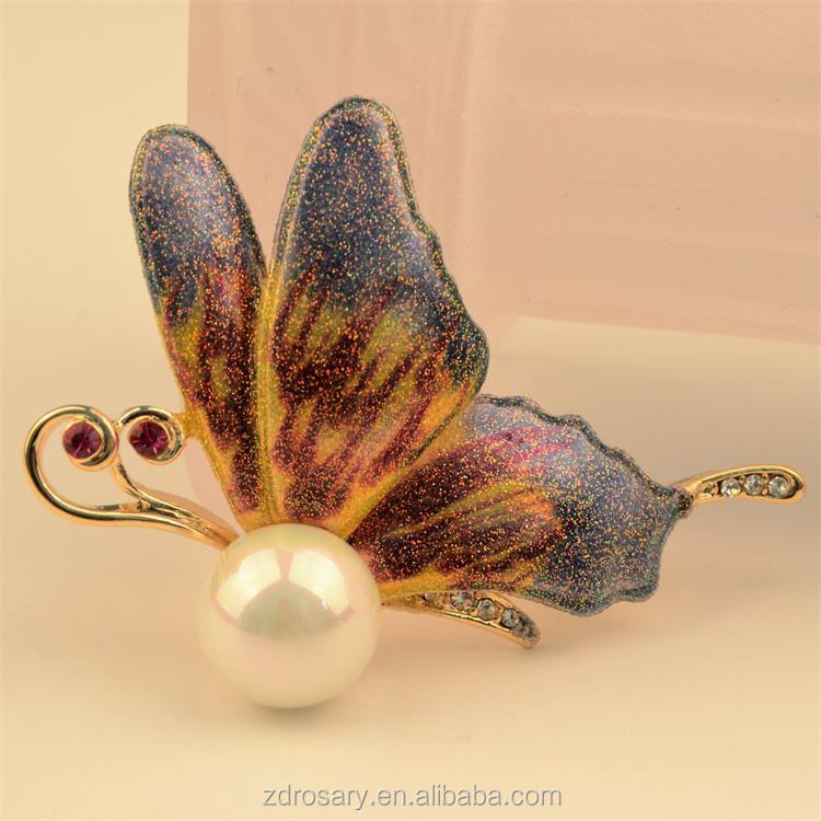 Korea New Fashion Design Colorful Enamel Butterfly Brooch Pins For Wedding