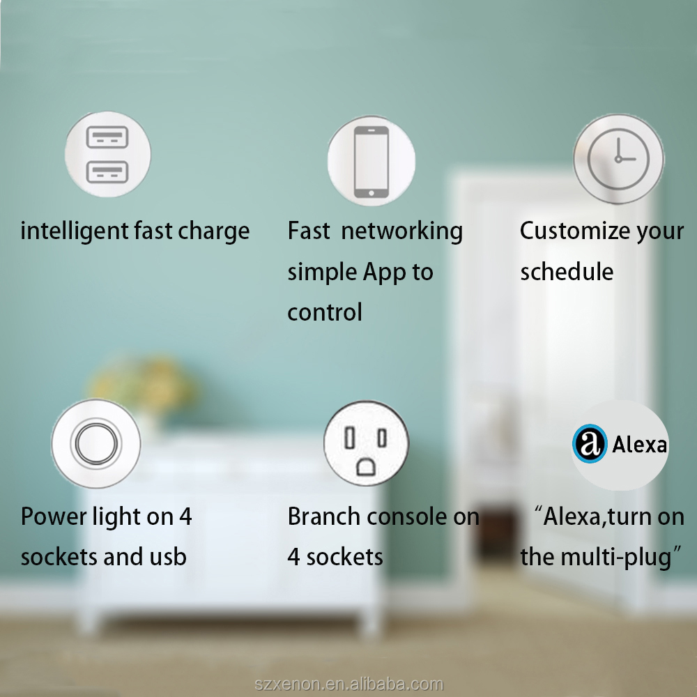 Xenon ETL certified 4 Outlet Wifi Smart Power plug ,USB Smart socket work with Alexa,smart phone remote control
