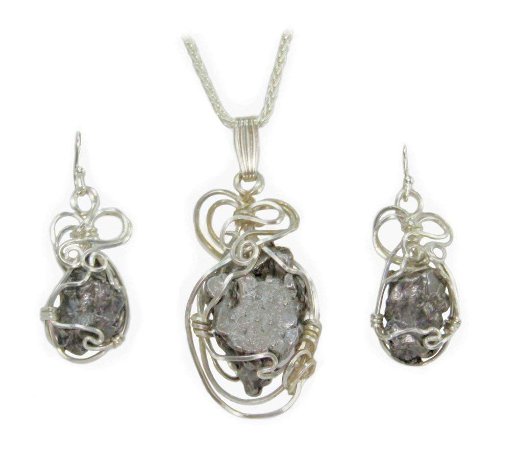 6edd274b6c70 Get Quotations · Iron Meteorite Space Rock Jewelry Pendant Necklace Set  with Matching Earrings Sterling Silver
