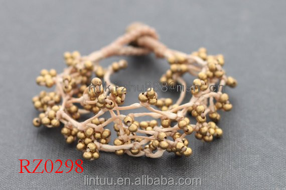 Yiwu trading company best selling products Brass beads and brass bell clasp bracelet retro bracelet RZ0298