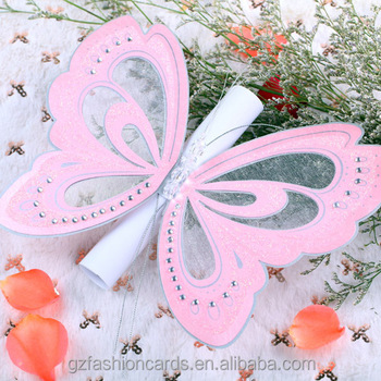 Pink Handmade Greeting Card Design Butterfly Wedding Invitation Card