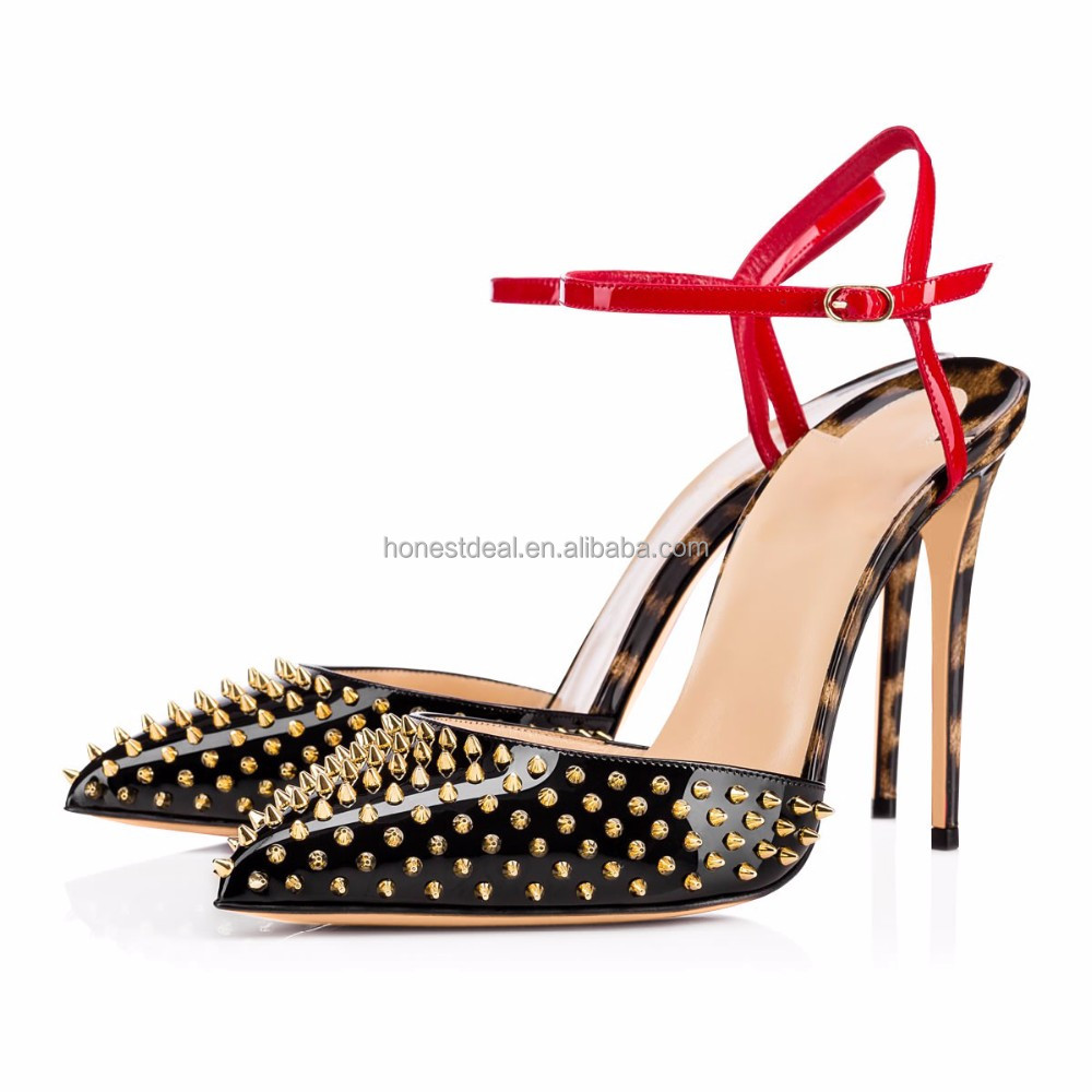 2017 onlymaker women Leopard PU pointed toe rivets punk style Slingbacks red ankle buckle strap thin stiletto heels pumps
