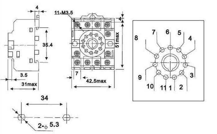 alta calidad m u00e1s nueva pf113a-e ronda z u00f3calo del rel u00e9 tipo 11 pins con ce