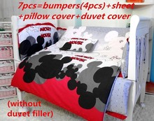 Promotion 6 7PCS Mickey Mouse baby bedding set baby boy sports crib bedding sets Cot Crib