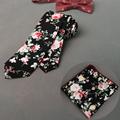 New Fashion Colorful Flower Necktie Handkerchief Cotton Set Pocket Square Bowtie 6cm Skinny Ties for Men