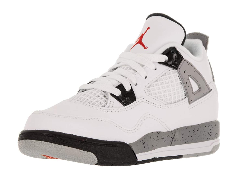 "Jordan Retro 4 ""Cement"" White/Fire Red-Black-Metallic Silver, 1.5Y"