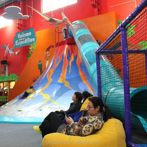 Amazing kids climbing volcano indoor playground with slide