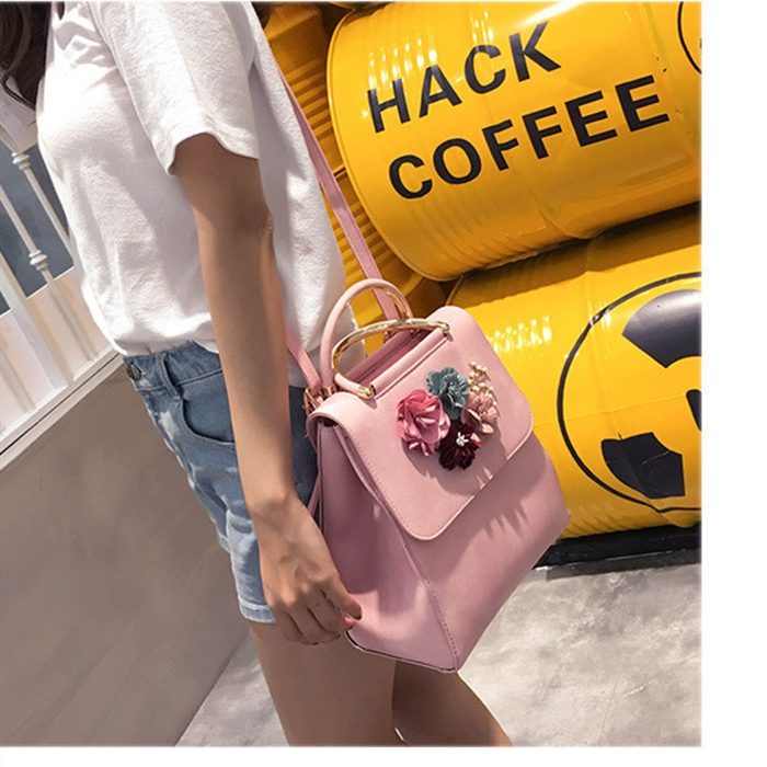 Women Backpacks New Design Best Selling Pu Leather Metal Handle Multifunction Fashionable Handbag Flower Backpack